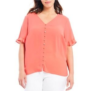 CeCe Ruffled Sleeve Blouse Coral Size XL